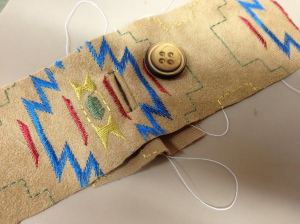 Sample bound buttonhole, prior to adding them to a current project.  Needed to remind myself how to do these! It's been ages!